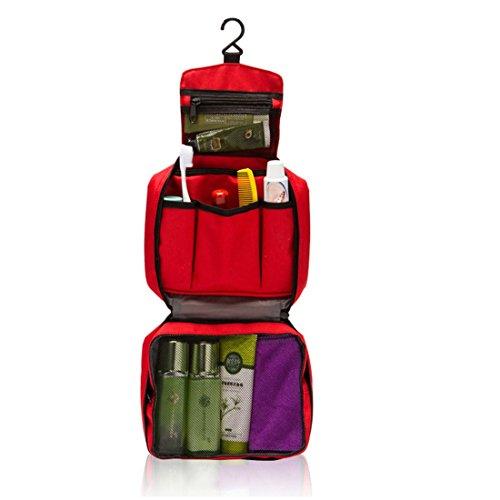 Ducomi® Travel Life! Beauty Case - Borsa da Viaggio - Organizzatore Viaggio Unisex - Misura Aperto: 22 x 61 cm (Red)