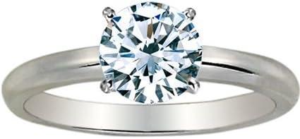 1/4 Carat Round Cut Diamond Solitaire Engagement Ring 14K White Gold 4 Prong (J-K, I2, 0.25 c.t.w) Very Good Cut