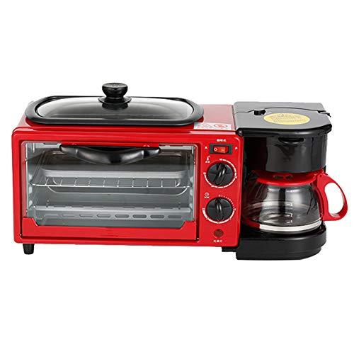 Toaster und Eierkocher / 9L Kompakt-Toastbrotmaschine, beidseitig beheizbar, zeitgesteuert, mit Deckel, rot 220V