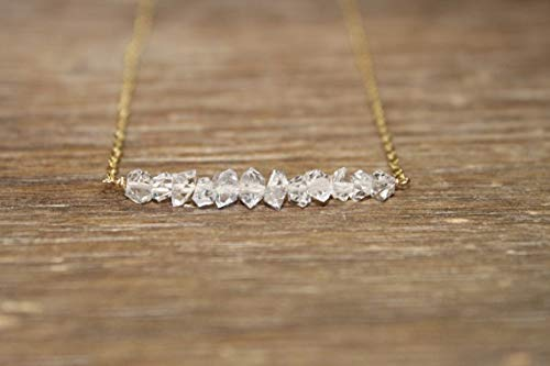 Natural Herkimer Diamond Necklace, Bar Necklace, Diamond Crystal Jewelry, April Birthstone, Silver, Rose Gold or Gold Filled 6-8 mm Fancy Faceted 16 inch Gemstone Necklace