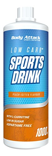 Body Attack Low Carb Sports Drink, Sportgetränkekonzentrat, Peach Ice Tea/Pfirsich Eistee, (1 x 1000ml)
