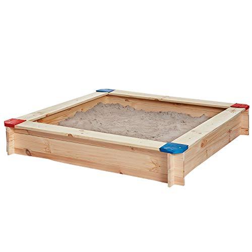 Miganeo Sandkasten 118 x 118cm Kiefernholz für draußen Sandkiste Sandbox Buddelbox 75212