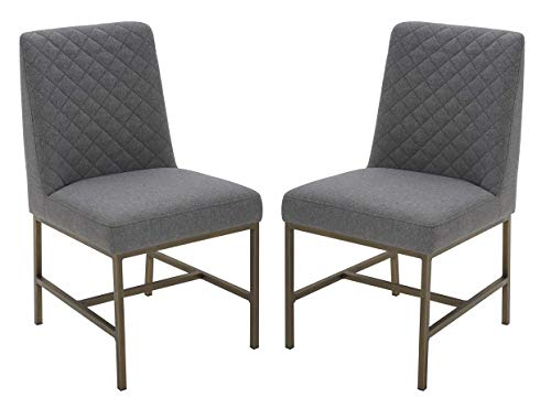 "Amazon Brand – Rivet Vermont Modern Diamond-Stitched Upholstered Dining Chair, 20""W, Set of 2, Graphite Grey - The armless profile, sleek metal legs and diamond-stitched cushion pattern of this dining chair combine classic and modern looks into an elegant style of its own. Overall: 23.2.""D x 20""W x 35""H. Seat height: 19"" Solid wood frame with sturdy metal base. - kitchen-dining-room-furniture, kitchen-dining-room, kitchen-dining-room-chairs - 41T1sJAXhUL -"