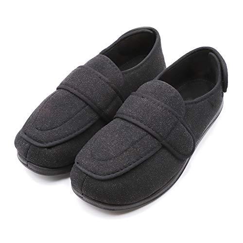 Women's Extra Wide Width Diabetic Recovery Slippers, Adjustable Closures Swollen Feet Arthritis Edema Orthopedic Footwear, Indoor/Outdoor Walking Shoes Black