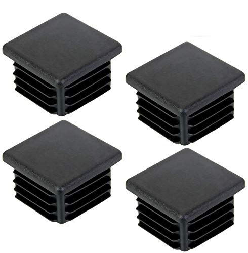 DECARETA 20 Stück Rohrstopfen 40x40MM Lamellenstopfen Kunststoff Fußkappen Schwarz Quadratstopfen für Quadratrohr Vierkantrohr