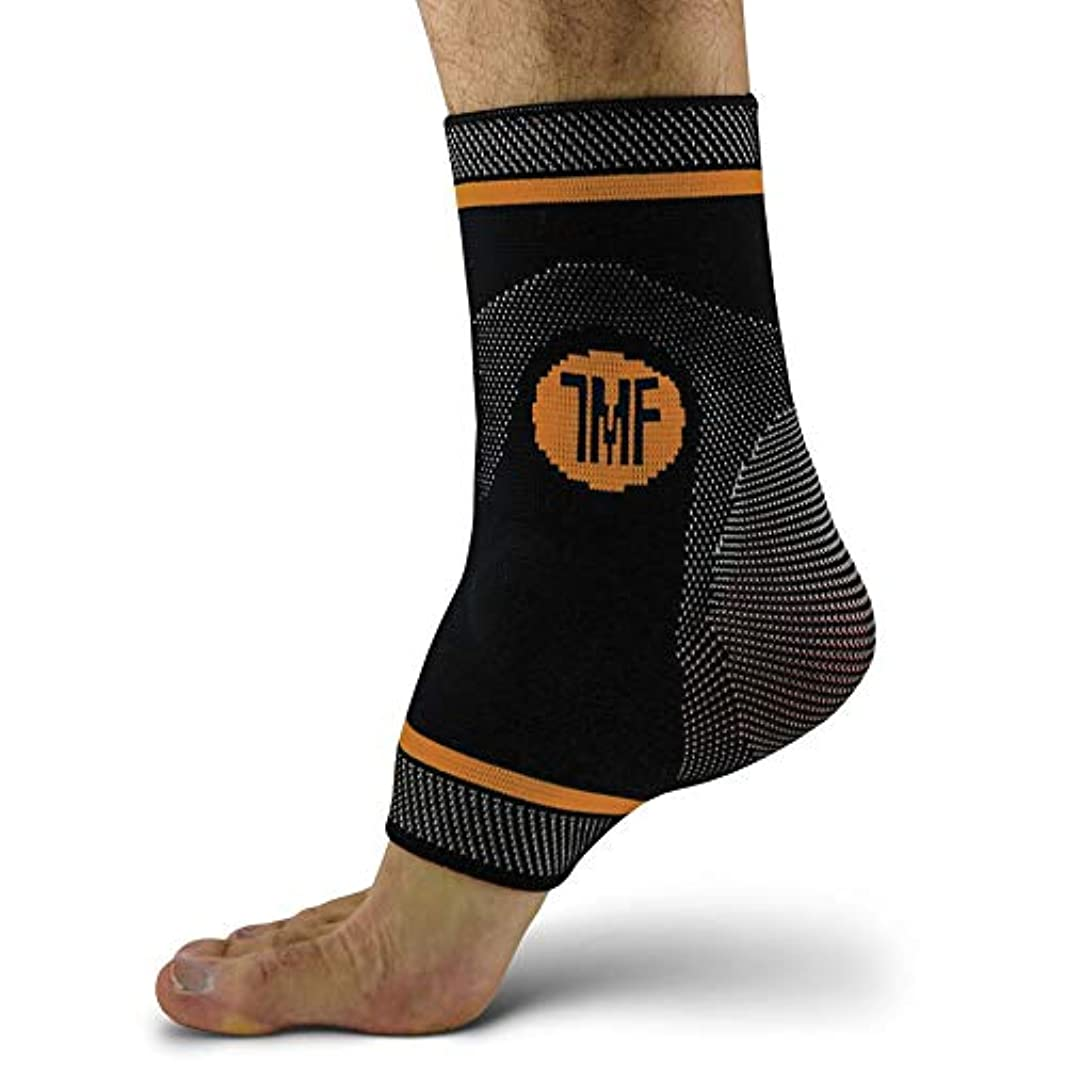 Ankle Compression Brace with Silicone Ankle Support and Anti-Microbial Copper. Plantar Fasciitis, Foot, Achilles Tendon Pain Relief. Prevent and Support Ankle Injuries & Soreness - M