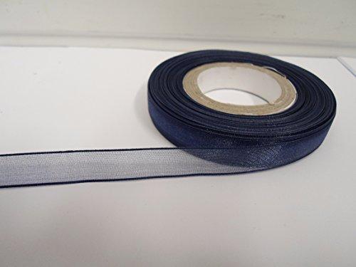Beautiful Ribbon 1 Rouleau de Ruban en Organza 9mm Pure x 25 mètres Marine Bleu foncé Double Face faveurs 9 mm
