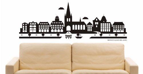 INDIGOS UG - Wandtattoo Wandsticker Wandaufkleber Aufkleber - Wandaufkleber e837 Skyline Stadt - Menden (Deutschland) Design 2-40x15 cm - schwarz - Dekoration Küche Bad Büro Hotel