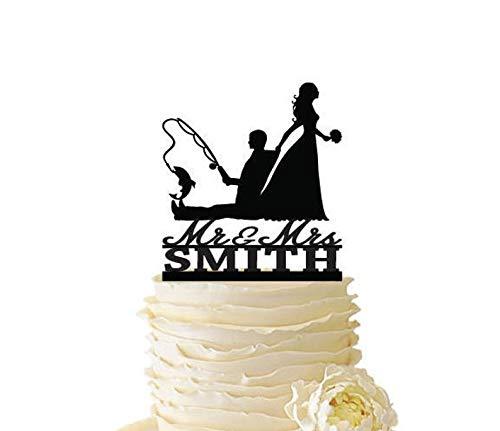 Mr. Mrs. with Bride - Figura decorativa para tarta de boda o pesca, diseño de novio con apellido
