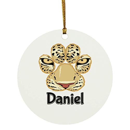 Daniel Leopard Print Tiger Cheetah Christmas Ornaments Tree Decor Decorations, Custom Personalized with Your Name Xmas Ornament Tiger Animal Leopard Lover Gifts, 9265