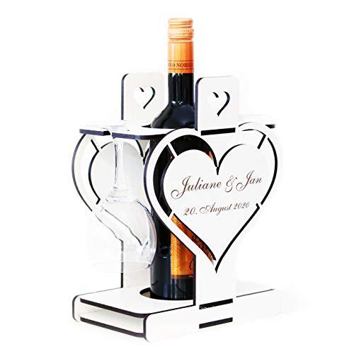 Flaschenhalter Geschenkbox für Wein und Sekt - personalisiert