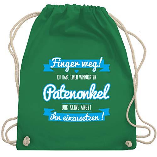Shirtracer Sprüche Kind - Ich habe einen verrückten Patenonkel blau - Unisize - Grün - patenonkel - WM110 - Turnbeutel und Stoffbeutel aus Baumwolle