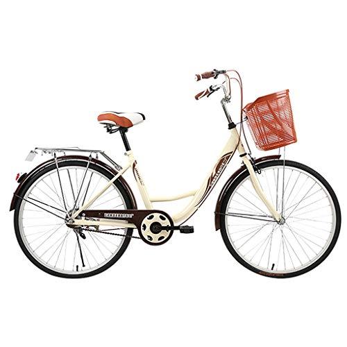 Mountainbikes Damenfahrrad mit Korb Cityräder 24 Zoll Fahrrad-Licht, Shimano 21 Gang-Schaltung, Mädchen-Damen-Citybike, Fahrrad, Retro-Design, Rücktrittbremse (Kaffee)