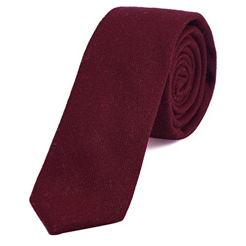 DonDon Corbata estrecha de algodón para hombres de 6 cm - burdeos