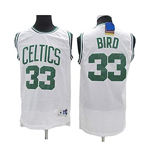 YB-DB - Maglia da basket Larry Bird # 33 – Boston Celtics, tessuto traspirante nuovo ricamato, unisex, senza maniche (S – 2XL), bianco, S (165~170cm)