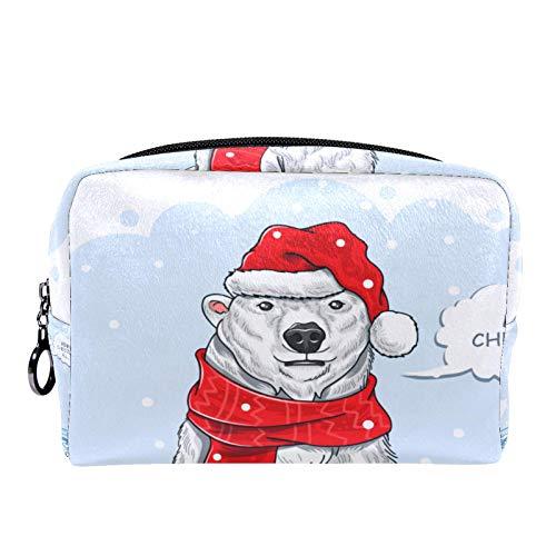 Neceser de Maquillaje para Mujer Bolso Organizador de Kit de Viaje cosmético,Navidad Oso Polar Santa Claus