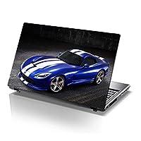 ノートパソコンスキンシール 15.6インチのラップトップスキンビニールデカール(カラフルなパターンとレザーエフェクトラミネート) Blue Sports Car 38Cm X 25.5Cm