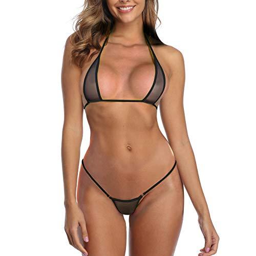 SHERRYLO See Through Lingerie Slutty Black Sheer Micro Bikini Extreme G String Mesh Mini Bikinis