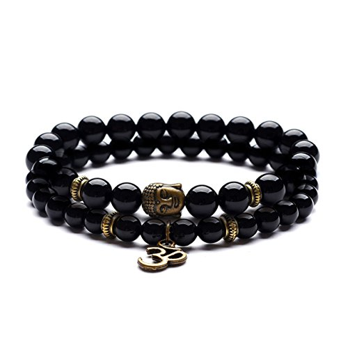 Domika Black Agate Beaded Bracelet Buddha Head & OM Buddhist Prayer Therapy Religious Stretch Bracelet Set