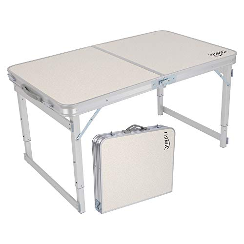 VINGLI 3FT Aluminum Folding Table,35.4''L x 23.6''W for Picnic Camping Party BBQ, Portable Utility Outdoor Tables with Carrying Handle