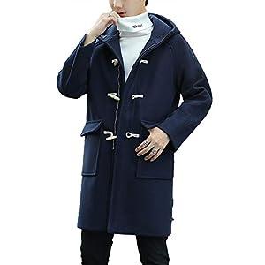 ダッフルコート ロングコート メンズ コート 秋冬 コート スリム 無地 カジュアル ファション フード付き 大きいサイズ 防寒 (ネイビー,5XL)