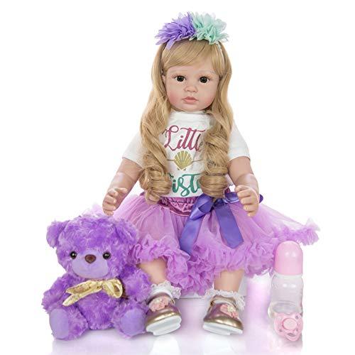 Cenphua 60cm Reborn Puppen Realistische Silikon Vinyl Neugeborenen Langes Haar Mädchen Prinzessin Kleidung Lebensechte Handgemachte Geschenke (Type 1 - Brown Eyes)