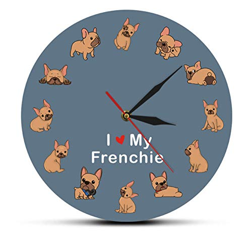 Haolc I Love My Frenchie Puppy Dog Printed Wall Clock Dog Breed French Bulldog Decorative Silent Wall Watch Pet Shop Wall Art Sign