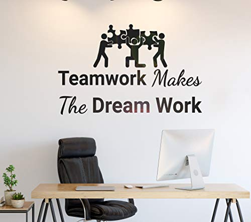 Wall Stickers Decal for Living Room Quote Teamwork Makes Dream Work Puzzles Stickers Mural Peel and Stick Decorative Self Adhesive Christmas Decoration for Home Nursery 39.4 Inch