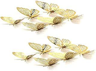 Gold Butterfly Wall Decals, Anlising 3D Butterflies Wall Stickers Hollow-Out Removable Mural Decals Decor DIY Art Decorations Stickers for Home Kids Bedroom Party Wedding Flower Decorations(24 PCS)