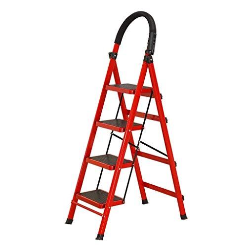WHF Trittleiter , Leiter , Tritthocker Trittleiter 4-Stufige Eisenleiter Sicherheitslast Trittleiter Warehouse Einseitige Trittleiter Klappbare Antirutschleiter Dachbodenleiter Klappschritte,Rot,76 X