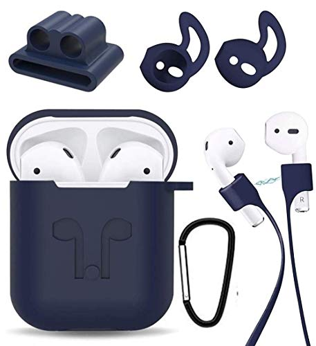 [AIRPODS Cover Set ONLY] Sounce Silicon Soft Shock Proof Protective AirPods Case 5-in-1 Set Sleeve Skin Cover with Anti Lost Strap + Keychain + Earplug + Strap Holder for Apple AirPods Case Cover