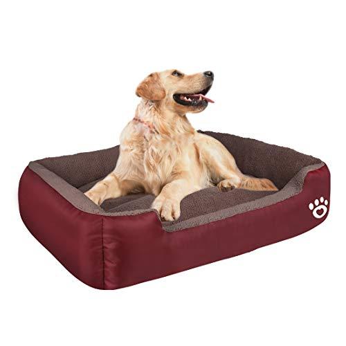 HEGCOIIE Cama para perros medianos y grandes, lavable para mascotas, sofá de forro polar suave, cálida canasta para perros, gatos, cama lo suficientemente gruesa con tela Oxford impermeable