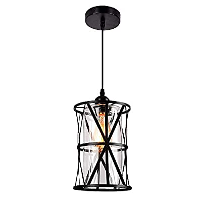 HMVPL Industrial Pendant Light Fixtures, Adjustable Modern Farmhouse Style Swag Hanging Chandelier with Glass Lampshade for Kitchen Island Bed Room Hallway Bar
