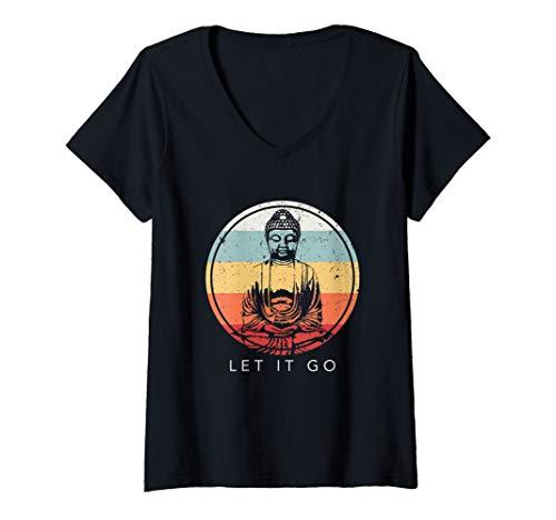 Womens Buddha - Let It Go Meditation Buddhism Vintage Yoga Gift V-Neck T-Shirt