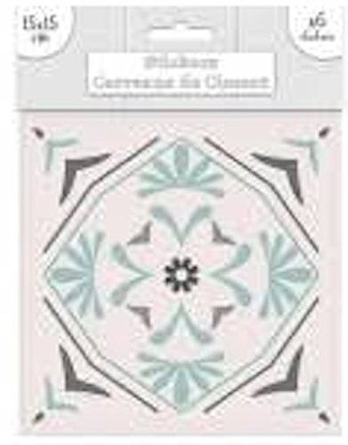 Decoratie Ref1O19 Deco.39 – sticker, tegels, zelfklevend, blauw, motief 3 – 15 x 15 cm – 6 stuks
