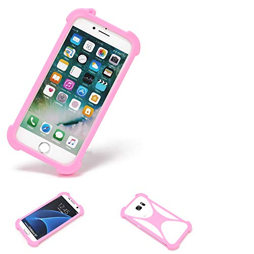 K-S-Trade Bumper + Kopfhörer Kompatibel Mit Thomson Friendly TH101 Handyhülle Schutzhülle Silikon Schutz Hülle Cover Hülle Silikoncase Silikonbumper TPU Softcase Smartphone, Pink (1x)