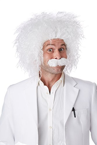 California Costumes Men's E=Mc2 Wig and Moustache Set Einstein Genius Scientist, White, One Size