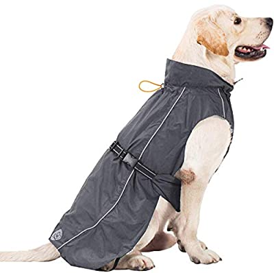 Pro Plums Dog Raincoat Adjustable Lightweight Jacket with Reflective Straps Buckle and Harness Hole Best Gift for Large Medium Small Puppy Dog (XXL, Grey)