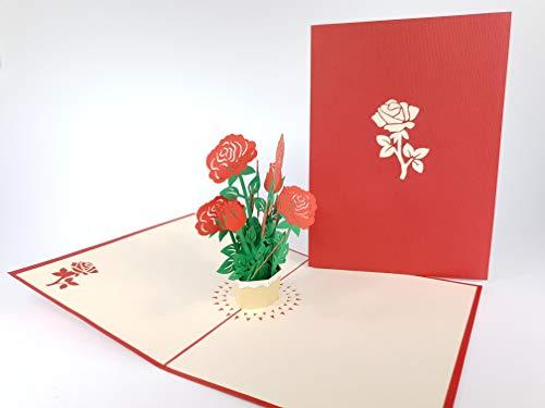 Carte de vœux pop-up 3D faite à la main Happy Birthday Mariage Anniversary Friendship Merry Christmas Thanksgiving Thank You Best Wish Good Luck Happy New Year Saint Valentin