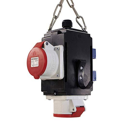as - Schwabe MIXO Energiewürfel III – Hänge-Verteiler für gute Energieversorgung mit 2 Schuko-Steckdosen 230 V, 16 A & 2 CEE-Steckdose 400 V, 16 A, 5-polig – IP44 – Made in Germany – Schwarz I 60735