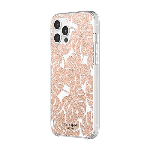 kate spade new york Protective Hardshell Case Compatible with iPhone 12 Pro Max  Island Leaf Pink Glitter/Clear/Blush Bumper