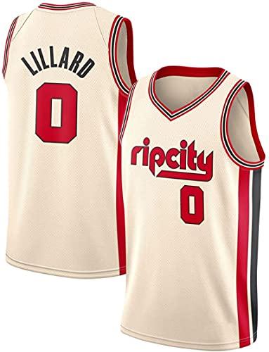 Jersey De Baloncesto - Portland Trail Blazers # 0 Damian Lillard Mess T-Shirt Chaleco De Baloncesto Transpirable, Bordado Swingman Jersey,Blanco,L
