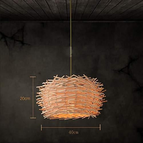 QIDOFAN Las luces del techo Colgante de la lámpara de las lámparas creativas Restaurante Bar Rattan luces decorativas de bambú Bird Cafe Nido Se enciende la luz de techo, 35cm Luces (Color : 40cm)