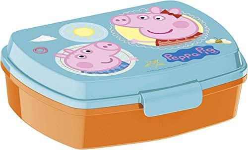 Javoli Fiambrera Peppa Pig con diseño de Peppa Pig – ideal para la pausa en la guardería y preescolar – Fiambrera con práctico cierre de clip