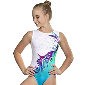 Gymnastics Leotards For Girls Various Colors And Sizes United All Around 7 8y Cl Turquoise Flower Ombre With Crystal Rhinestones