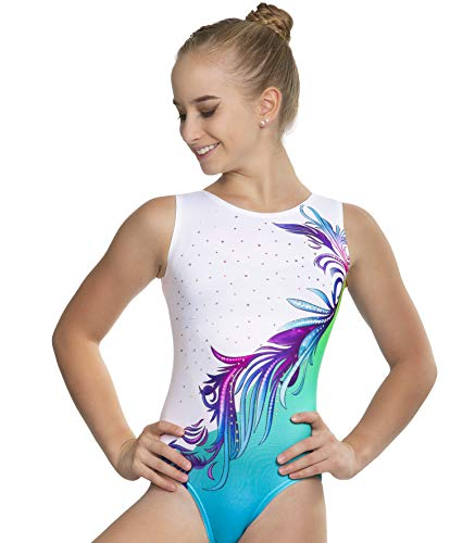 Gymnastics Leotards For Girls -Various Colors and sizes, United All Around (7-8Y (CL), Turquoise Flower Ombre with Crystal Rhinestones)