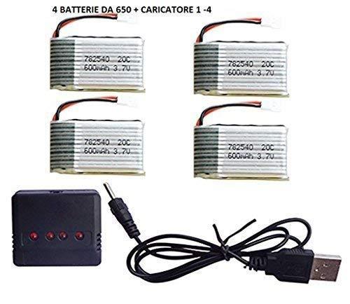 YUNIQUE CARTICATORE 1 TO 4 CON 4 BATTERIE DA 650 mAh LIPO RICARICABILE PER SYMA X5C X5C-1 X5SW