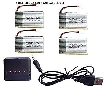 YUNIQUE ESPAGNE® 4pcs 3.7V 650mAh Lipo Baterías + 4 en 1 cargador para SYMA X5c X5SW X5SC X5