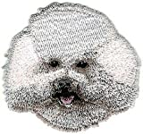 VirVenture 2' x 2 1/4' Bichon Frise Head Portrait Dog Breed Embroidery Patch Great for Hats, Backpacks, and Jackets.