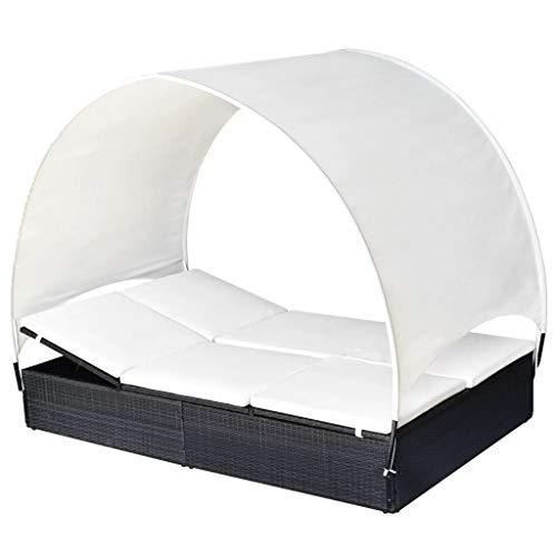 Sonnenliege Rattan Doppelliege mit Dach Gartenliege 2 Personen mit Auflage Sonneninsel Loungebett Relaxliege Gartenmöbel Liege für Garten Balkon Outdoor Terrasse, Schwarz